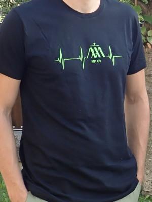 EKG fekete férfi póló