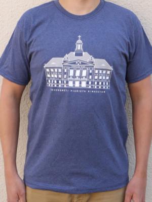 Kecskeméti iskolaépületes férfi póló kék színben